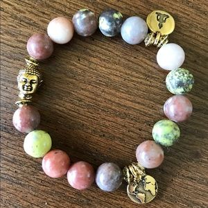 Handmade plum jade peaceful bracelet
